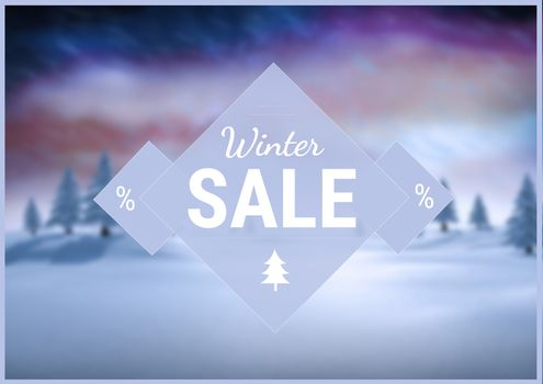 Winter Sale with blue and purple illustrated background, text on triangle