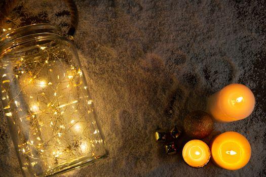 candles and smooth christmas lights