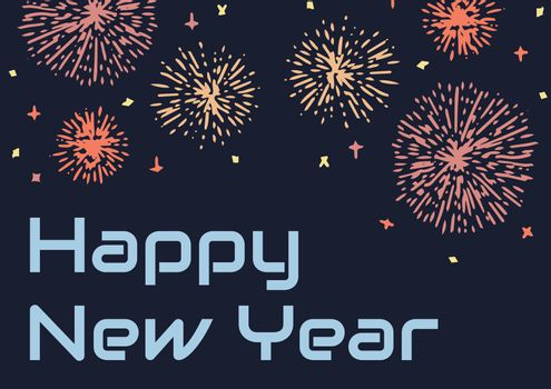 Happy New Year Illustrated firework and blue text