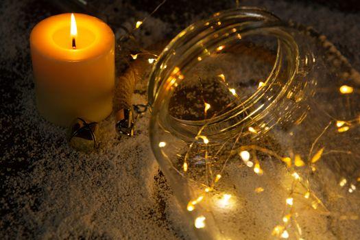 smooth christmas lights and candle