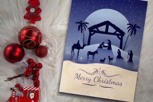 Composite image of nativity scene against full moon