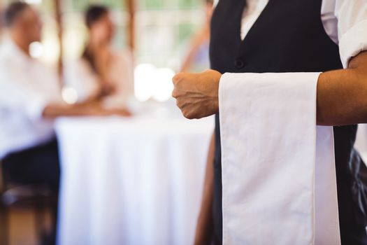 Waitress standing with napkin in restaurant