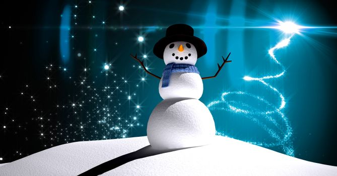Snowman with Christmas light glowing in night