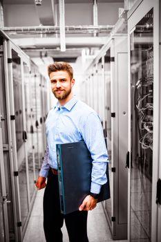 Technician holding a server