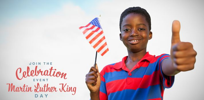 Composite image of little boy waving american flag