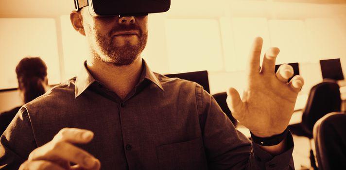Businessman using virtual reality simulator