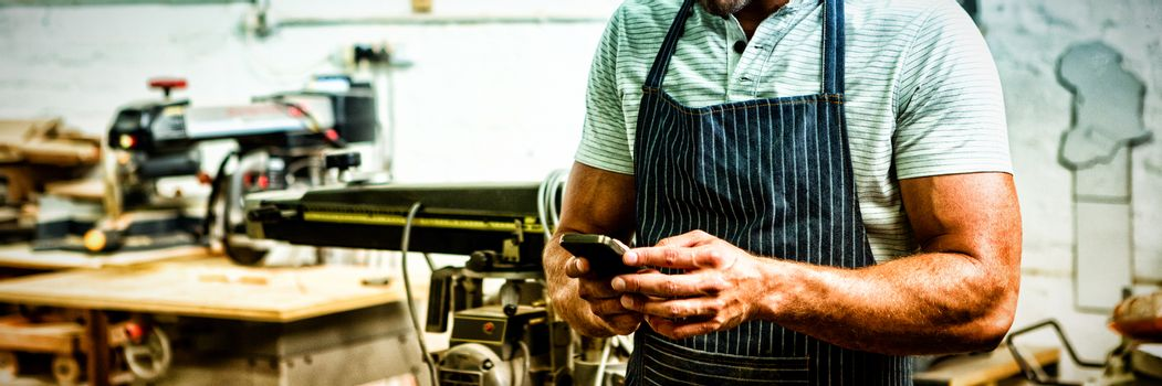 Carpenter using phone