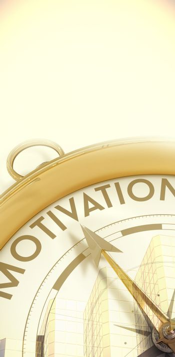 Composite image of compass pointing to motivation