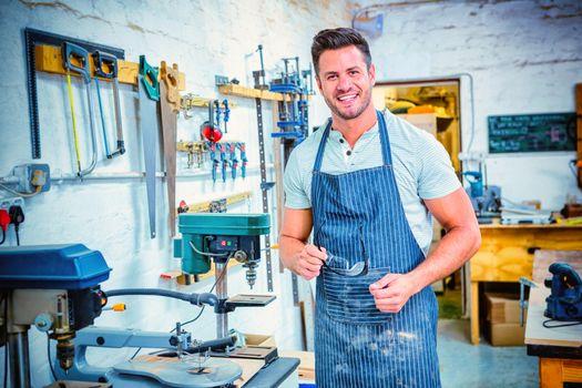 Portrait of smiling carpenter