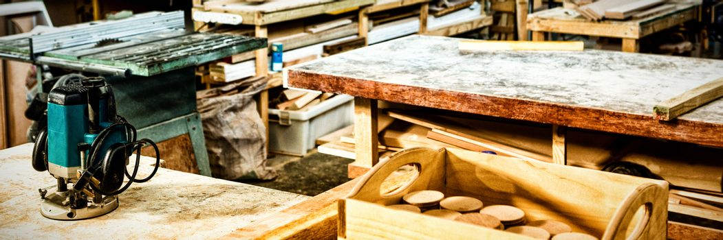 Carpentry workshop with machinery
