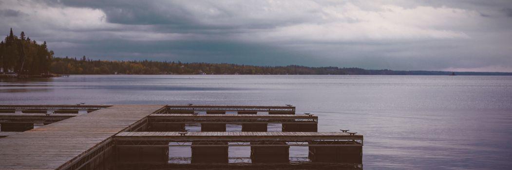 River pier at dawn