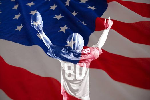 American flag with stars and stripes against american football player cheering with arms up