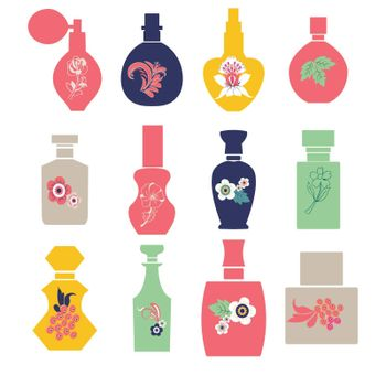 Vector set with vintage cosmetic and perfume bottles silhouette with herbs and flowers. illustration.