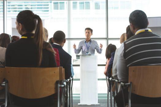 Businessman speaking at a business seminar