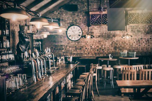 Bar counter at pub