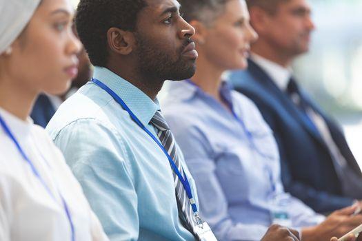 Businessman attending a business seminar