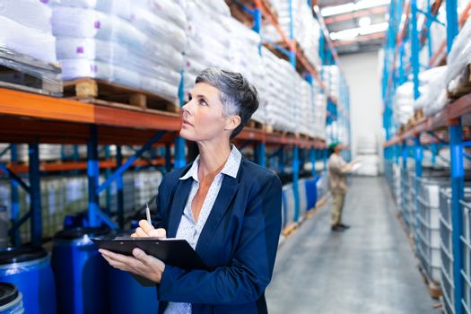 Front view close-up of beautiful mature Caucasian female manager checking stocks on clipboard in warehouse. This is a freight transportation and distribution warehouse. Industrial and industrial workers concept