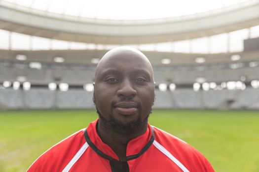 Portrait close up of African American male rugby player looking at camera in the stadium