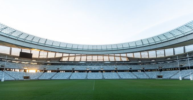 Front view of empty Rugby stadium at dawn
