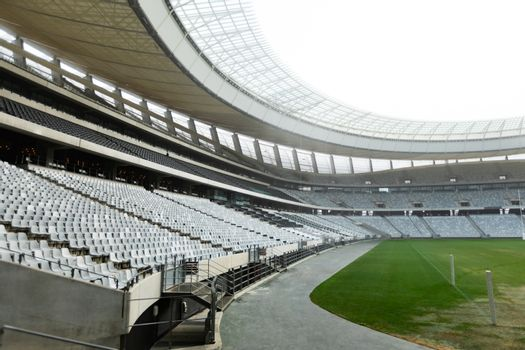 Side View of empty Rugby stadium at dawn