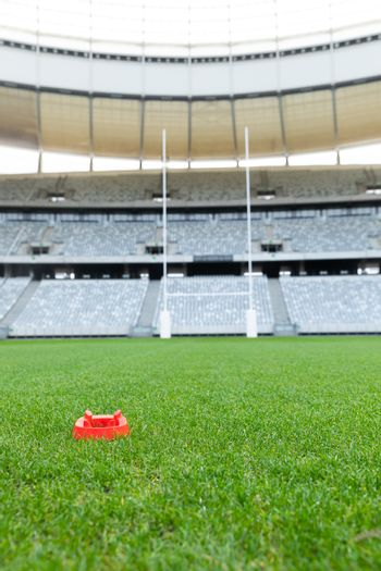 Front view of rugby ball stand in a empty stadium