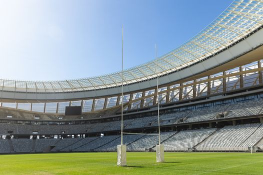Empty Rugby stadium on a sunny day