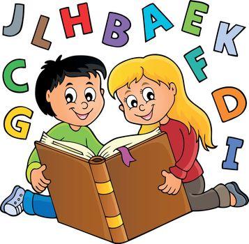 Kids reading book theme 2 - eps10 vector illustration.