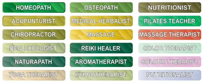 A collection of alternative therapy buttons on a white background