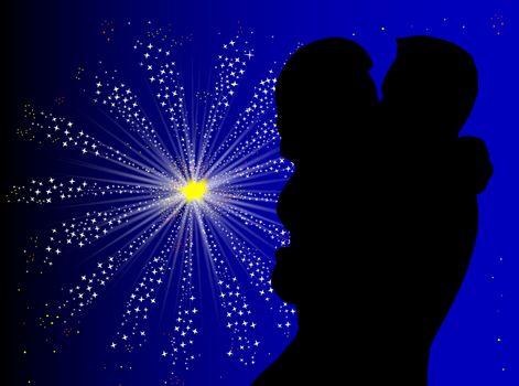 A couple kissing against a celebration firework