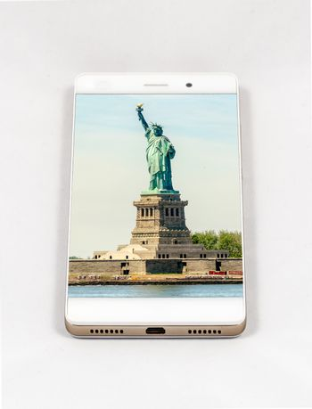 Modern smartphone with picture of Statue of Liberty, New York City, USA. Concept for travel smartphone photography. All images in this composition are made by me and separately available on my portfolio