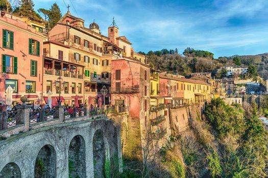The town of Nemi on the Alban Hills, overlooking Lake Nemi, near Rome, Italy