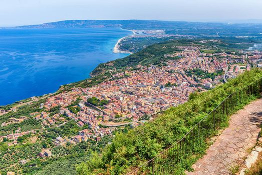 Aerial view of the town of Palmi on the Tyrrhenian Sea from the top of Mount Sant'Elia, Calabria, Italy