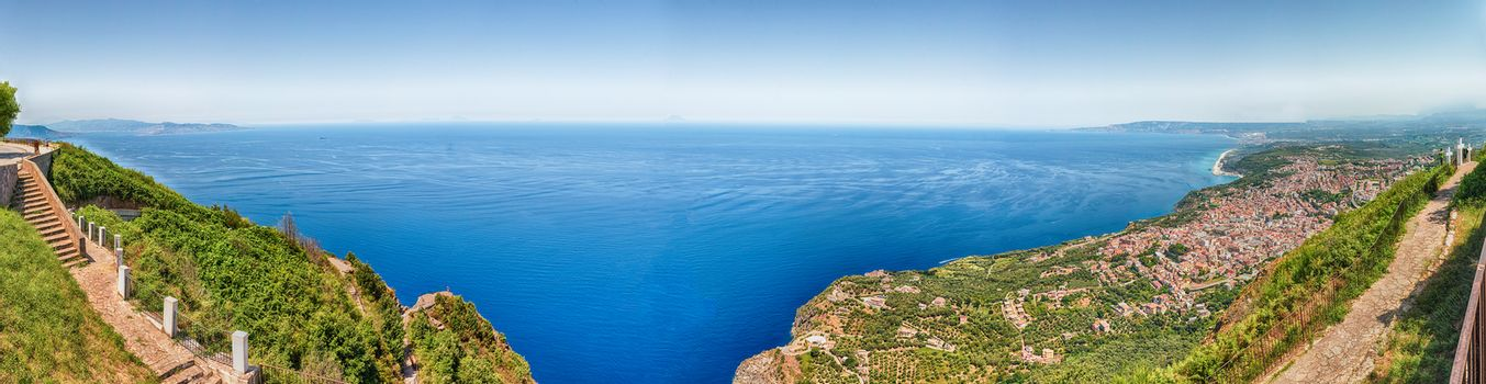 Panoramic view of the town of Palmi on the Tyrrhenian Sea from the top of Mount Sant'Elia, Calabria, Italy