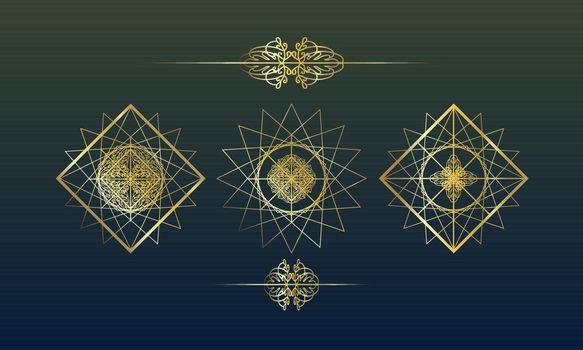 Elegant template with three golden geometric mandalas in eastern style