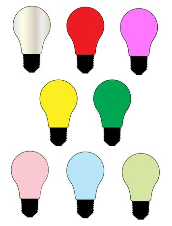 A collection of eight coloured light bulbs