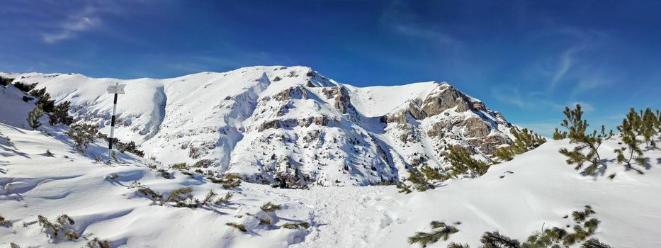 Panoramic view of Mount Bucegi on winter, part of Romanian Carpathian Range