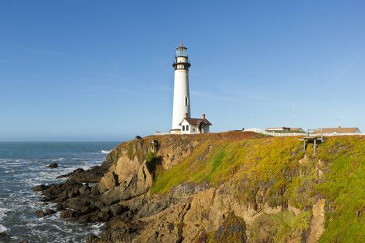 The Pigeon Point Lighthouse on the Pacific Coast of California.