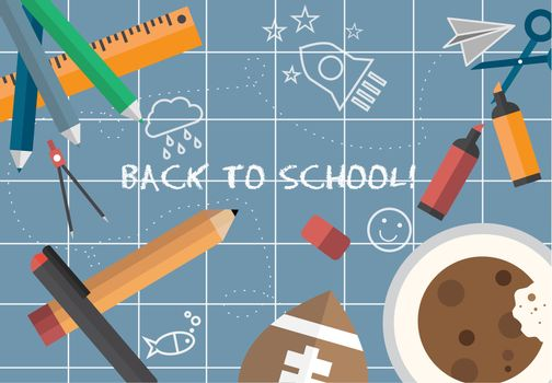 Back to school message vector on blue background
