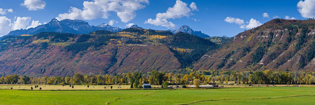 Panoramic view of the San Juan Mountains near Ridgway, Colorado.