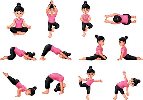 Girl In Pink Shirt Doing Yoga Gymnastics Exercise Cartoon Set