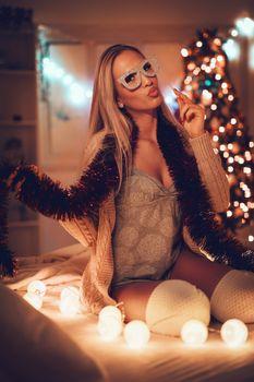 Girl In Christmas Mood