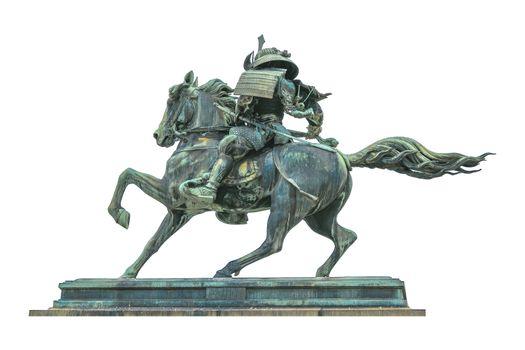 Samurai Warrior Riding Horse Sculpture Isolated Photo