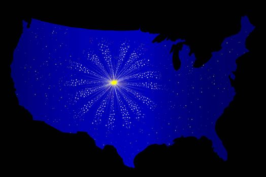 A celebration skyrocket explosion with fallout through a USA outline silhouette