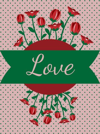 Vintage greeting card template for women's day or mother's day with cartoon tulips and text 'love'