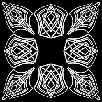 Floral black and white gothic symbol in old celtic style