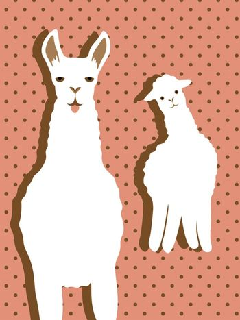 Cute cartoon llama with sticking out tongue and alpaca with head tilted to one side