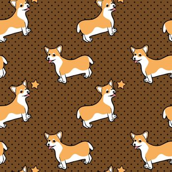 Cute seamless pattern with sitting and winking cartoon dog welsh corgi on dotted brown background