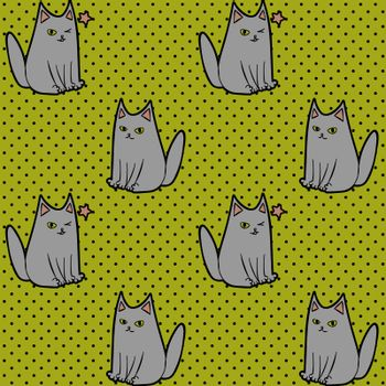Cute seamless pattern with sitting and winking cartoon cat on dotted green background