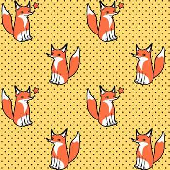 Cute seamless pattern with sitting and winking cartoon fox on dotted yellow background