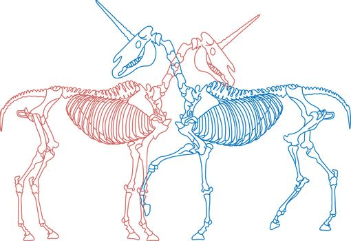 Line art with hugging couple of unicorn skeletons: red and blue